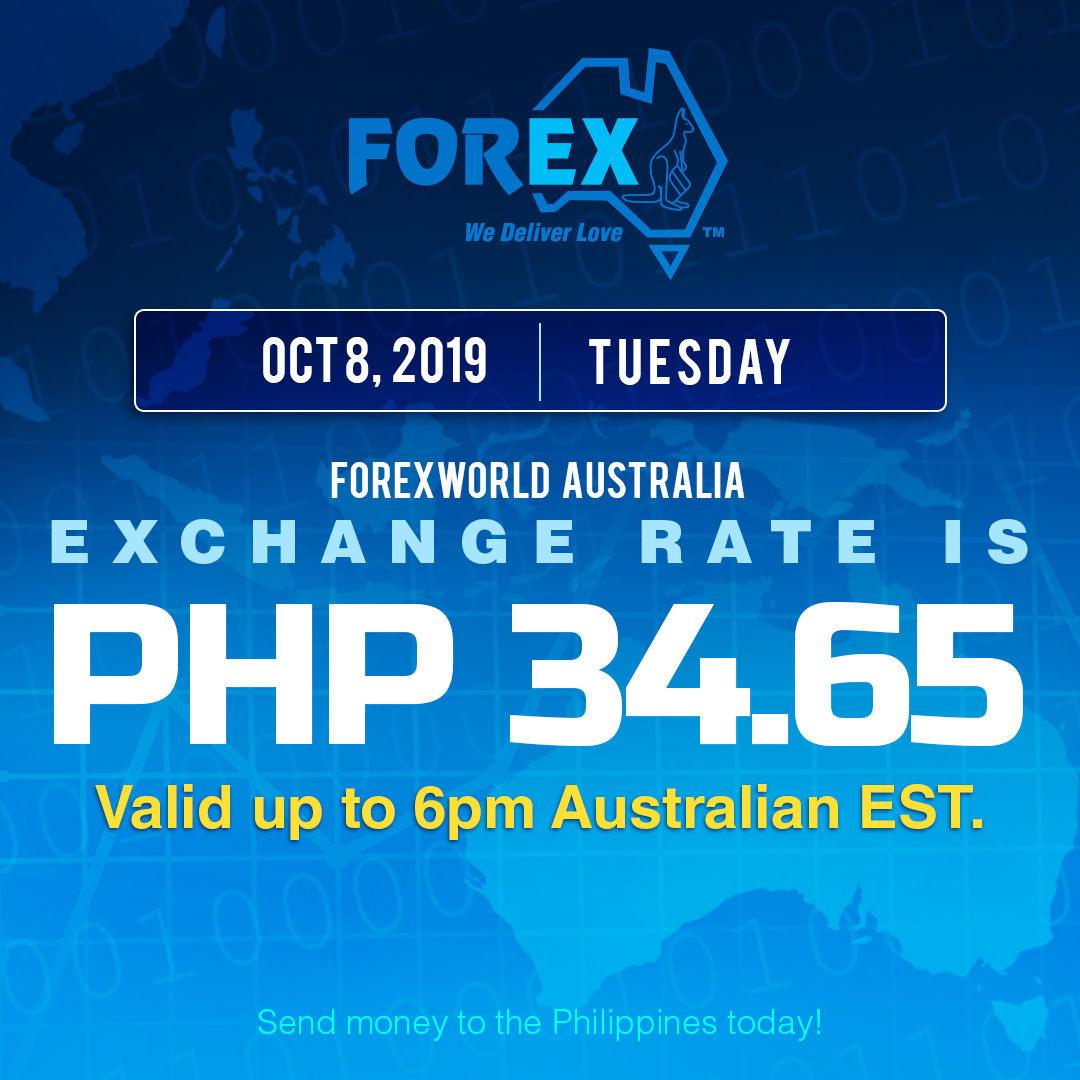 Australian Dollar Philippines Peso exchange rate October 8, 2019