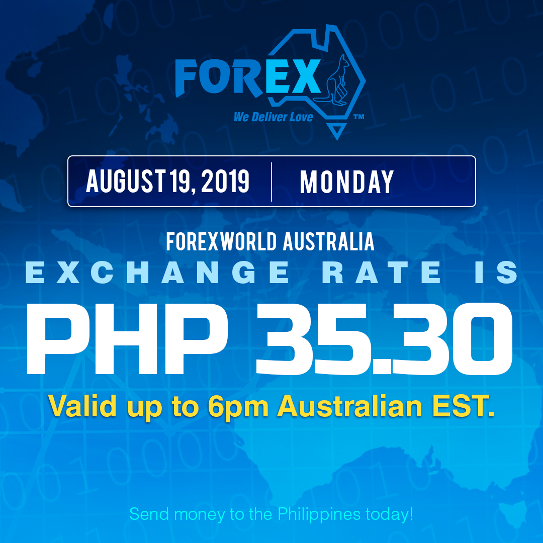 Australian Dollar Philippines Peso exchange rate August 19, 2019