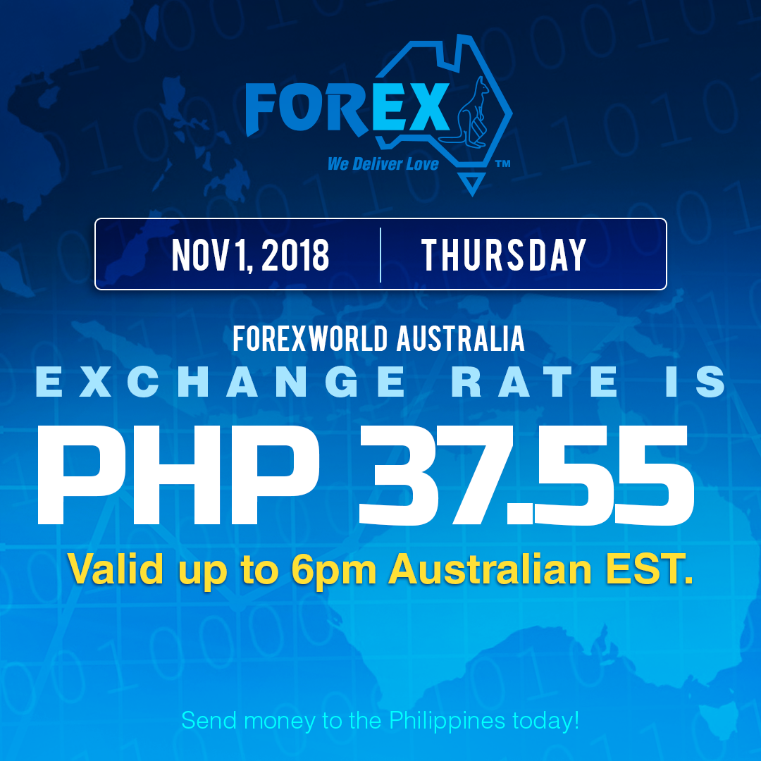 Australian Dollar Philippines Peso exchange rate November 1, 2018