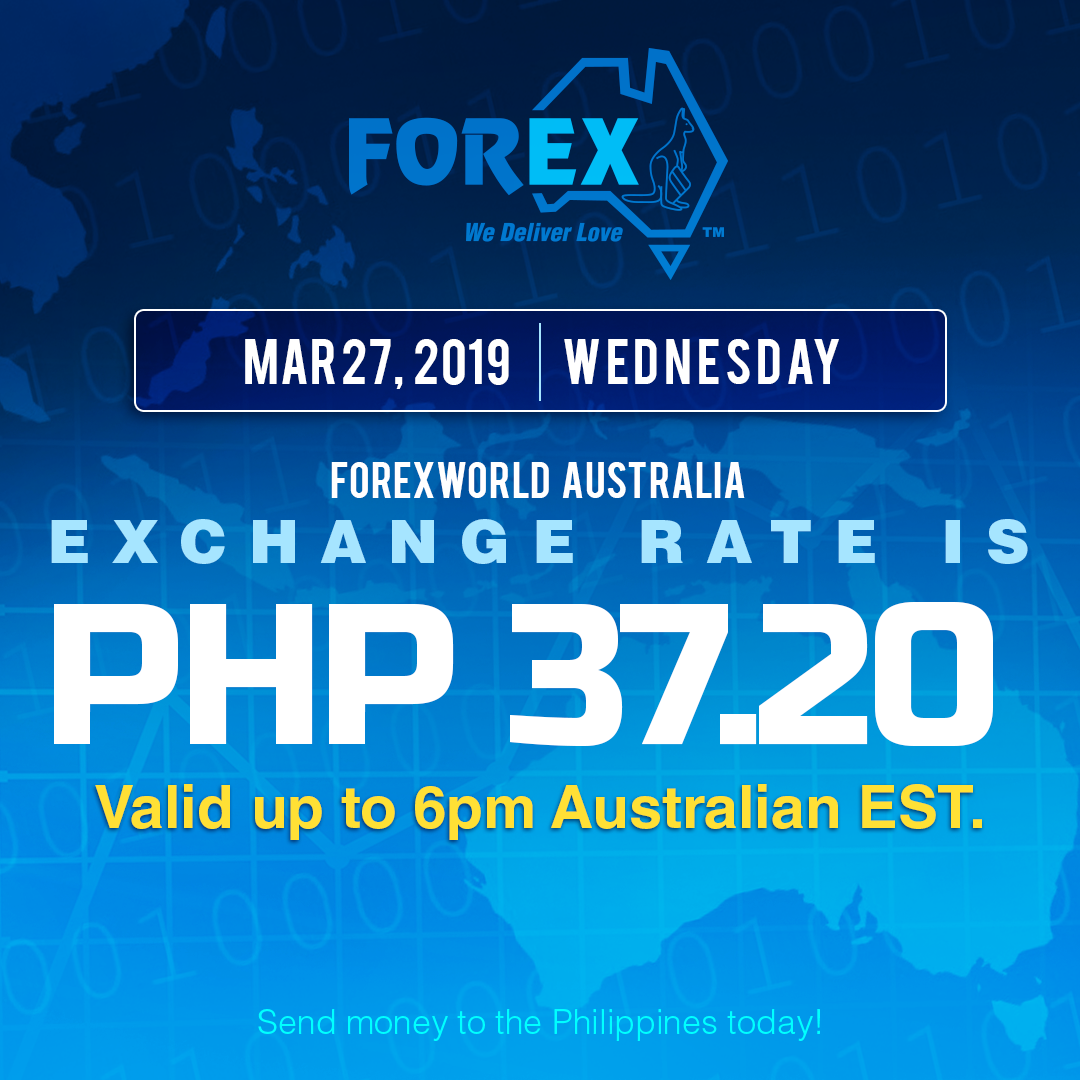 Australian Dollar Philippines Peso exchange rate March 27, 2019