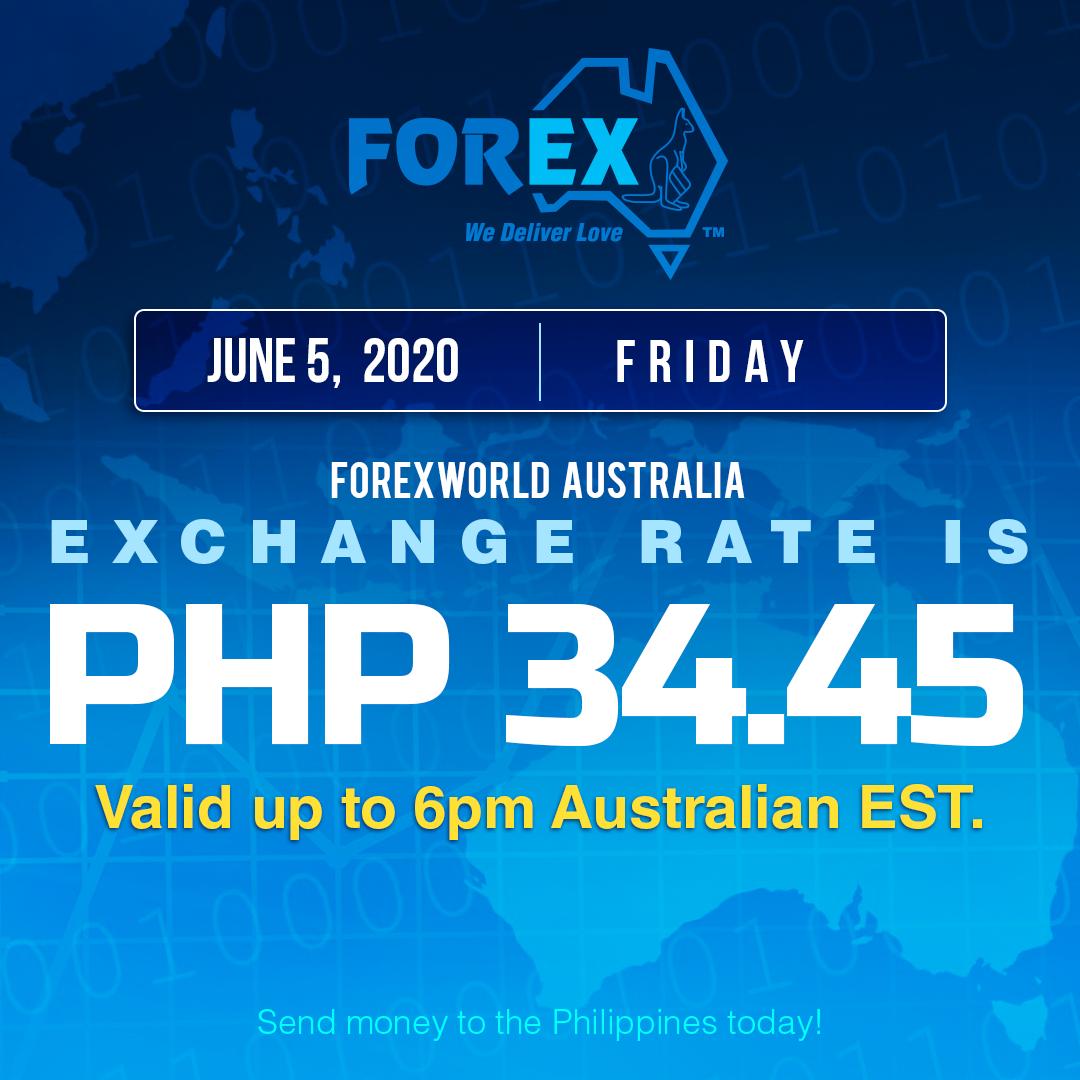 Australian Dollar Philippines Peso exchange rate June 5, 2020