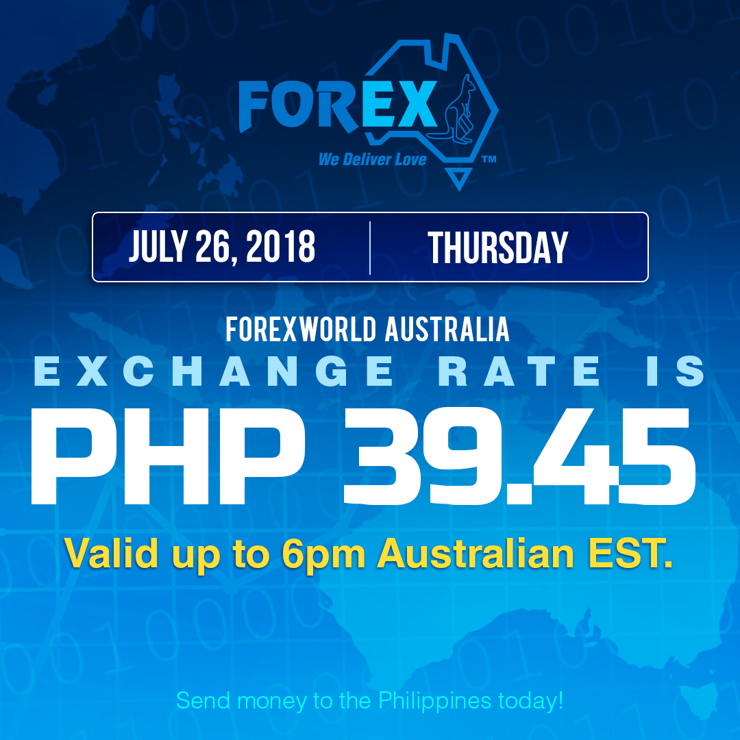 Australian Dollar Philippines Peso exchange rate July 26, 2018