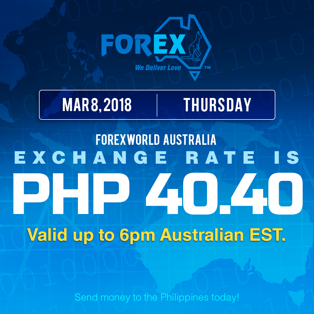 Australian Dollar Philippines Peso exchange rate March 8, 2018