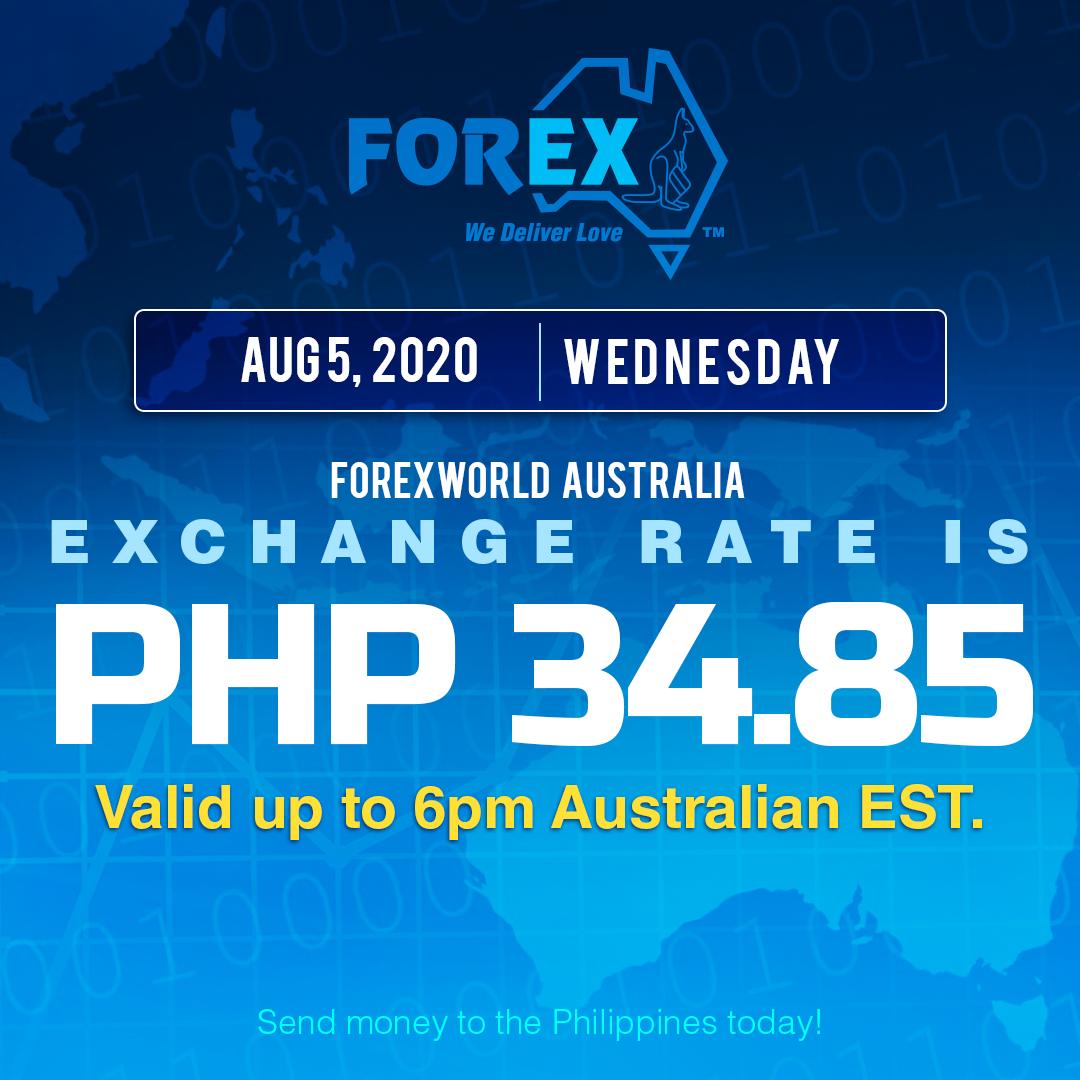 Australian Dollar Philippines Peso exchange rate August 5, 2020
