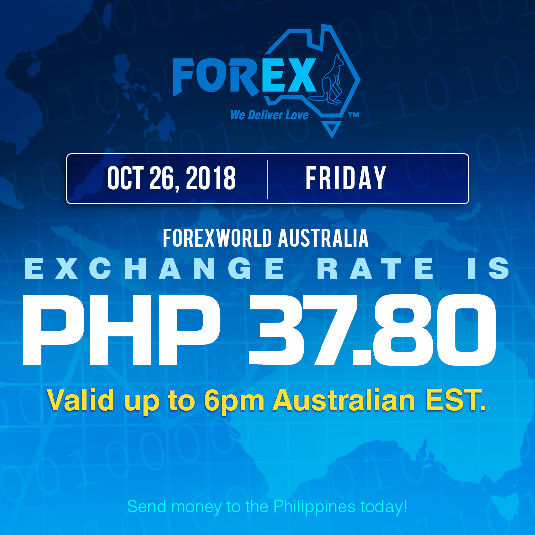 Australian Dollar Philippines Peso exchange rate October 26, 2018