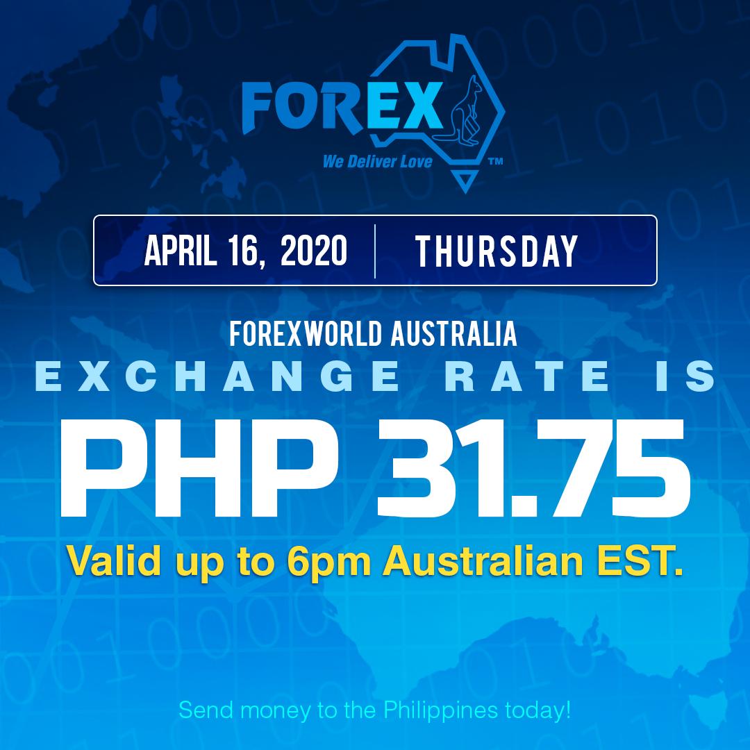 Australian Dollar Philippines Peso exchange rate April 16, 2020