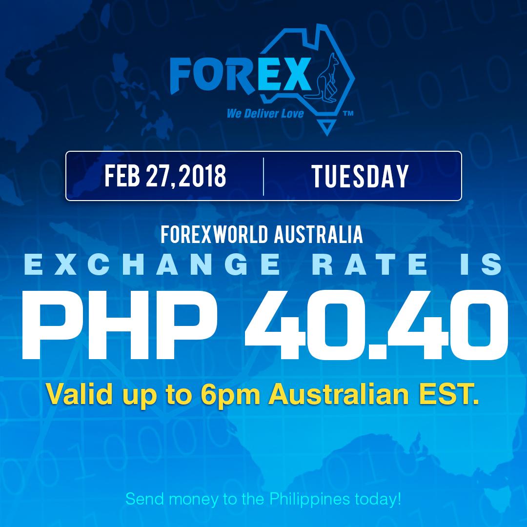 Australian Dollar Philippines Peso exchange rate February 27, 2018