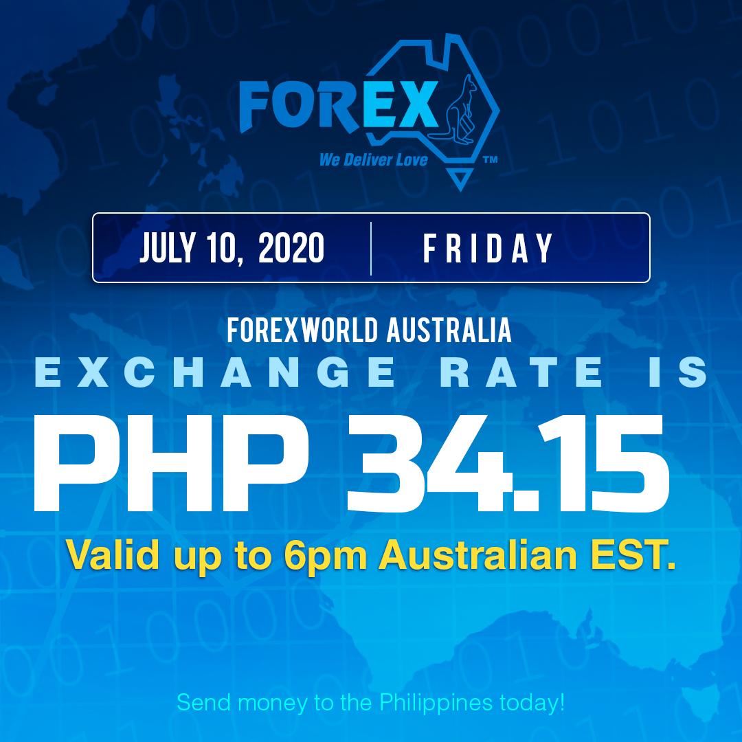 Australian Dollar Philippines Peso exchange rate July 10, 2020
