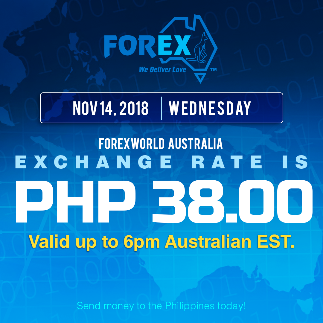 Australian Dollar Philippines Peso exchange rate November 14, 2018
