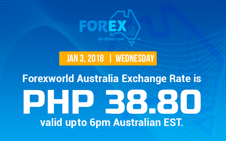 Australian Dollar Philippines Peso exchange rate January 3, 2018