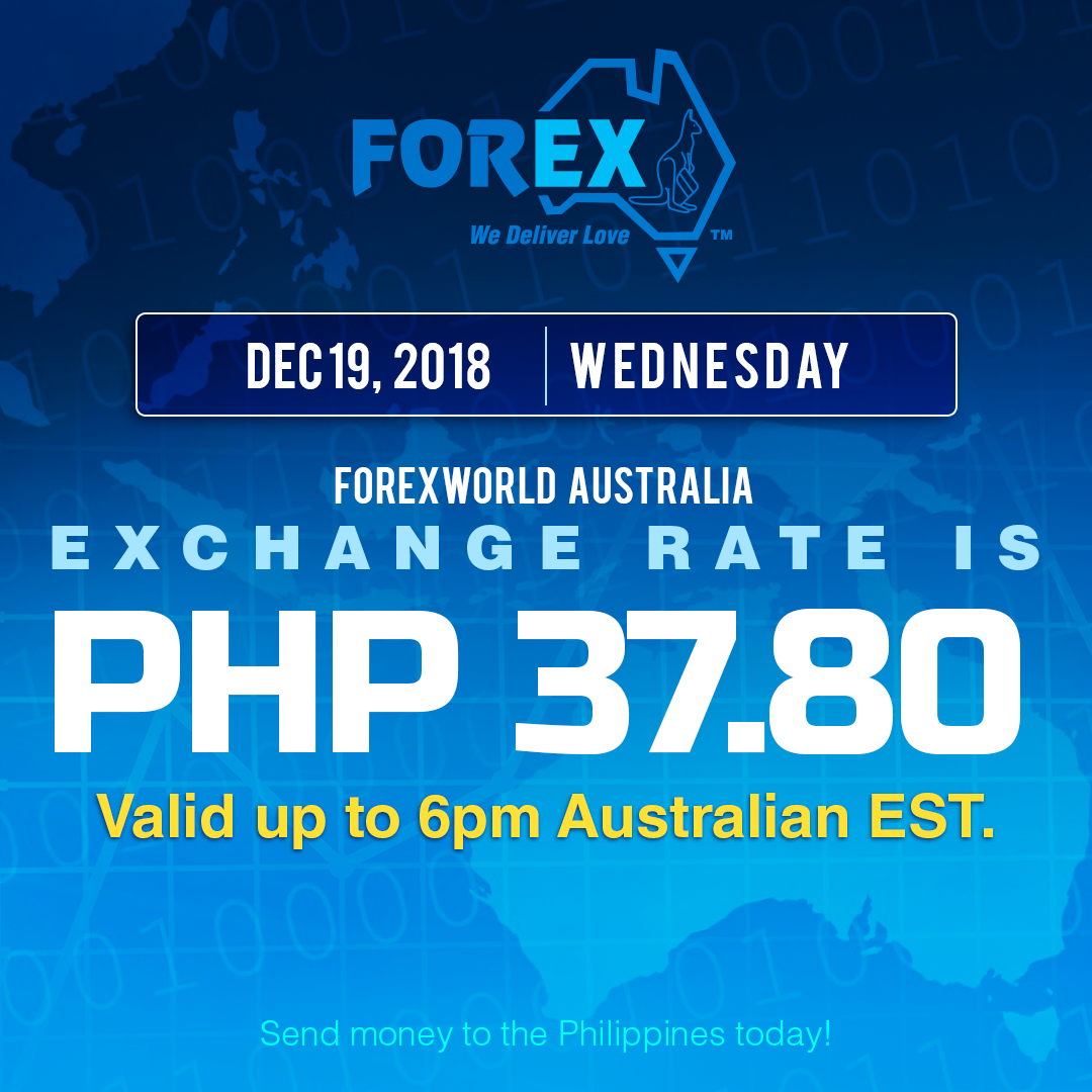Australian Dollar Philippines Peso exchange rate December 19, 2018