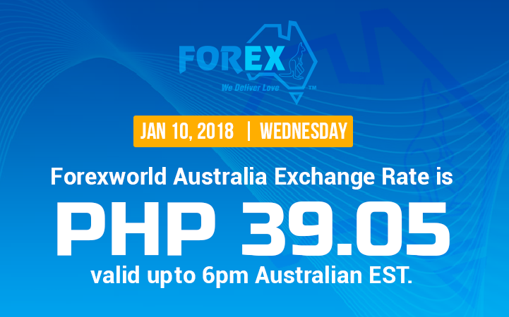 Australian Dollar Philippines Peso exchange rate January 10, 2018