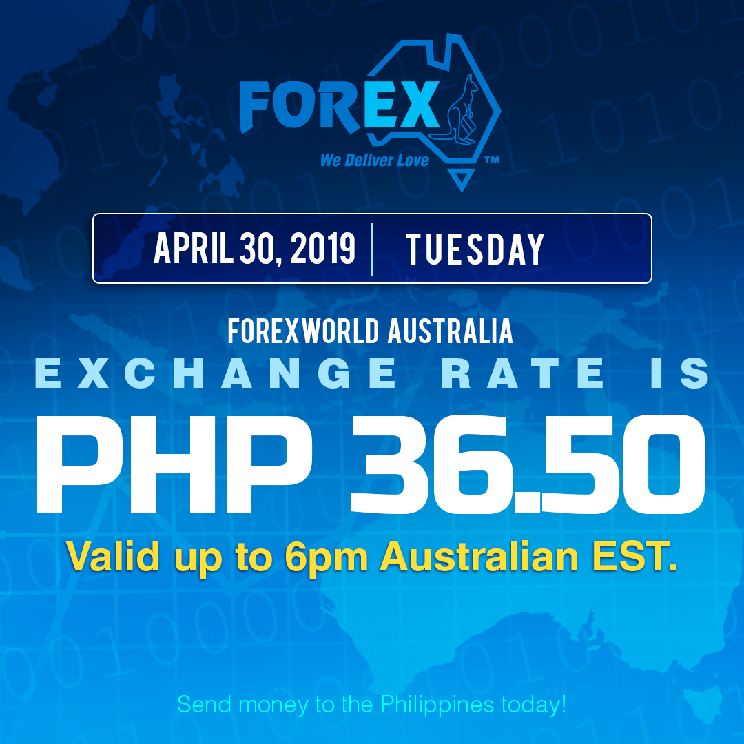 Australian Dollar Philippines Peso exchange rate April 30, 2019