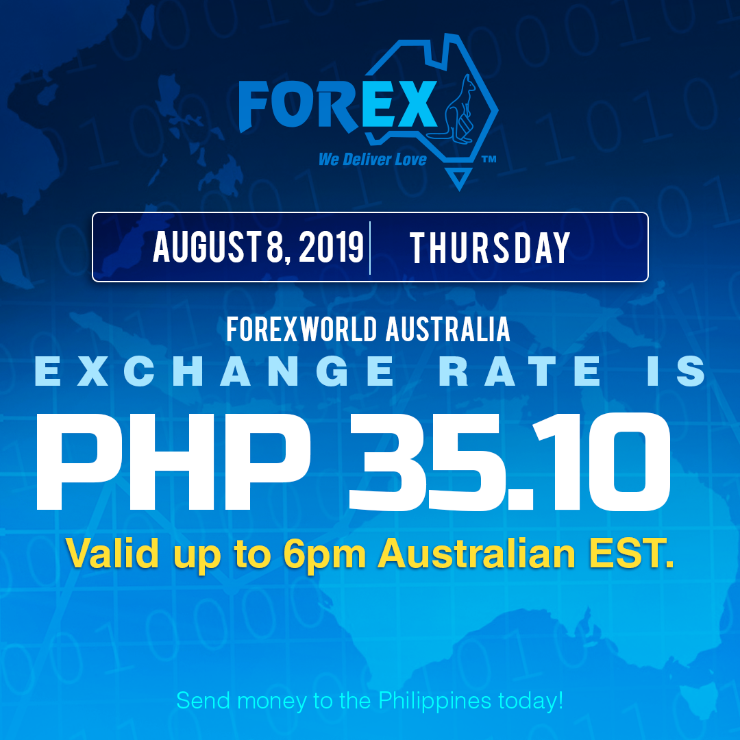Australian Dollar Philippines Peso exchange rate August 8, 2019