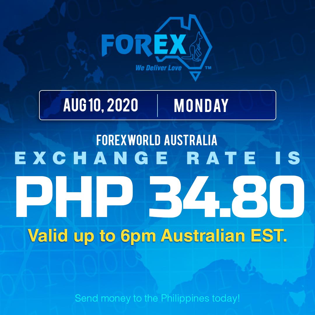 Australian Dollar Philippines Peso exchange rate August 10, 2020