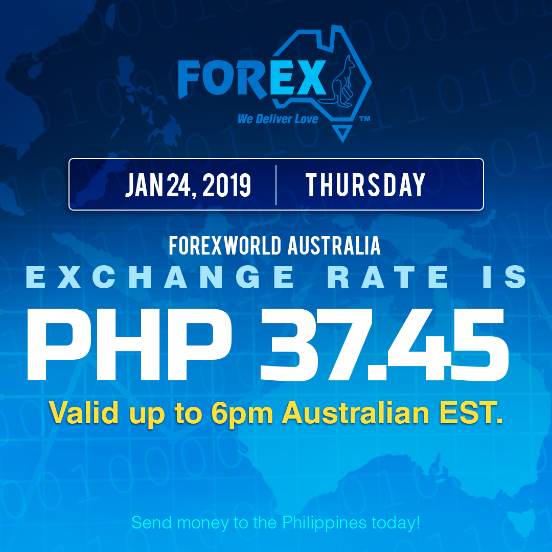 Australian Dollar Philippines Peso exchange rate January 24, 2019
