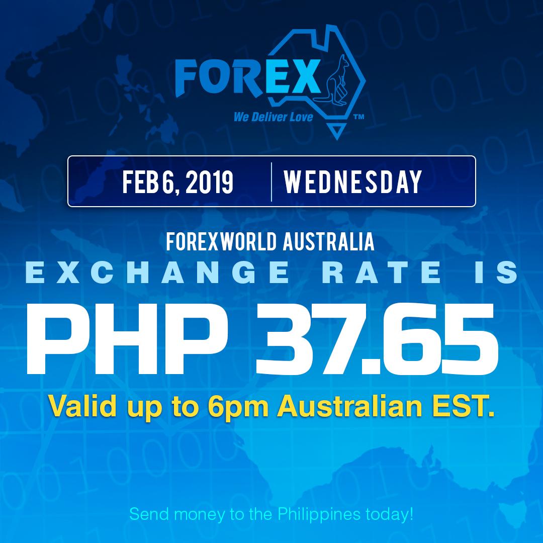 Australian Dollar Philippines Peso exchange rate February 6, 2019
