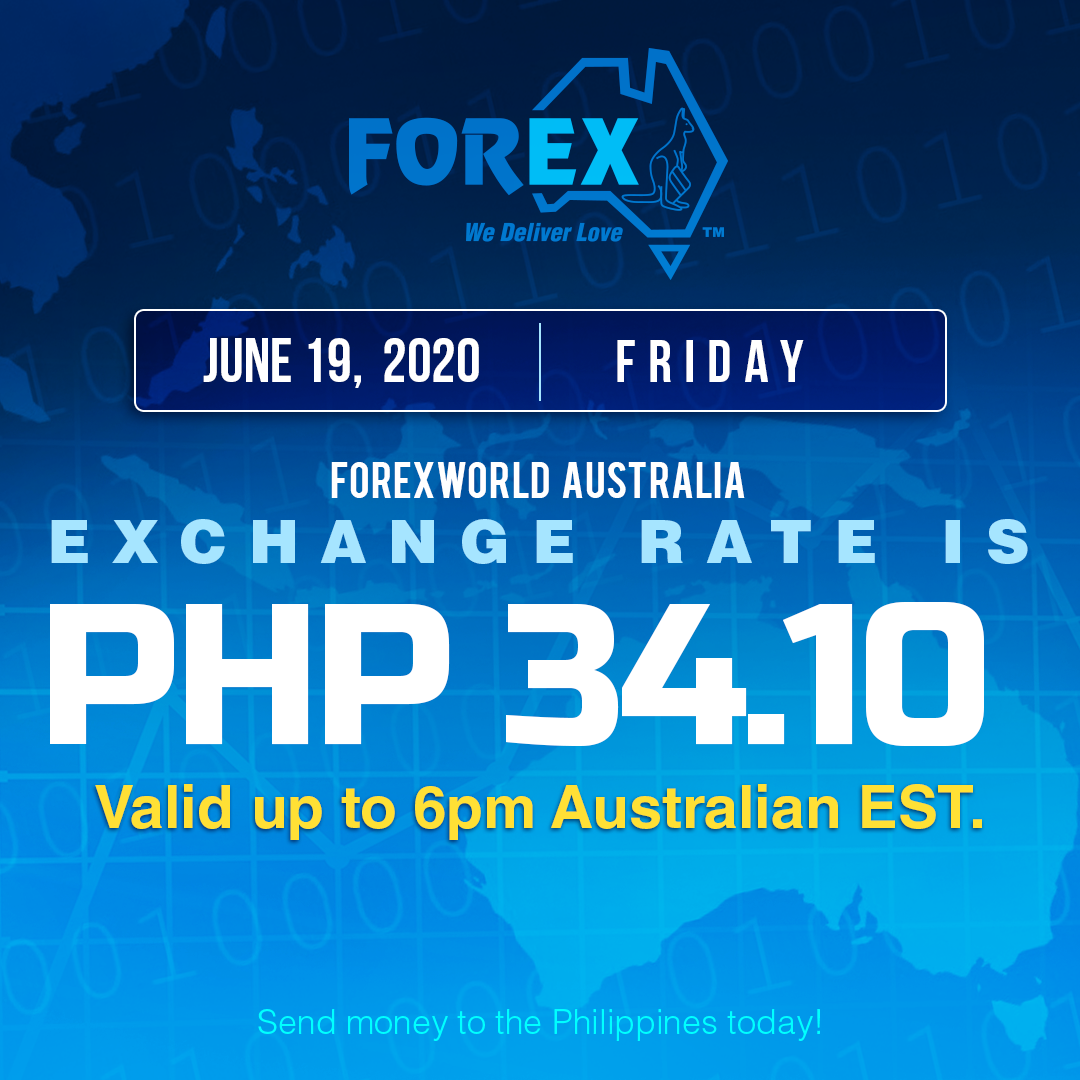 Australian Dollar Philippines Peso exchange rate June 19, 2020