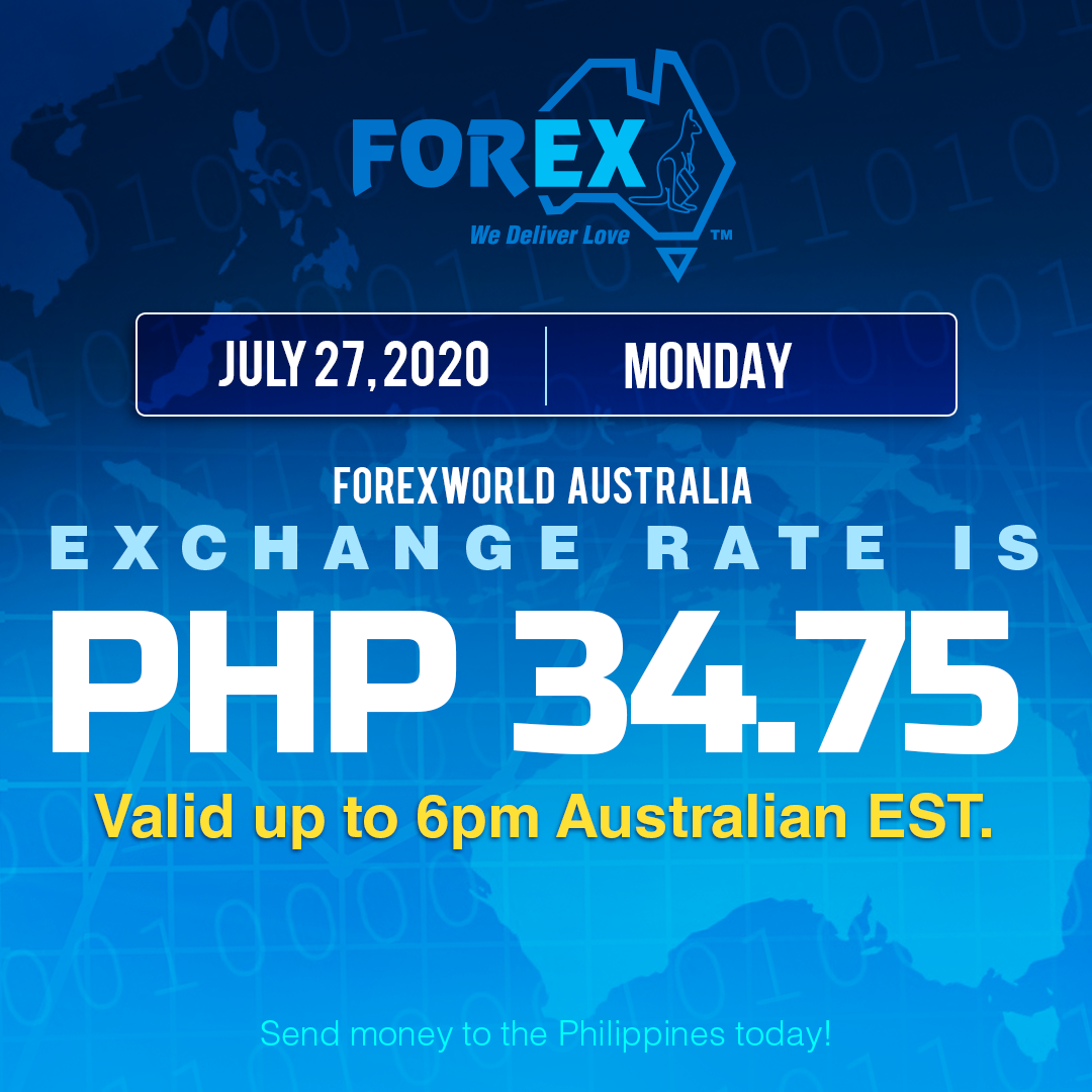 Australian Dollar Philippines Peso exchange rate July 27, 2020