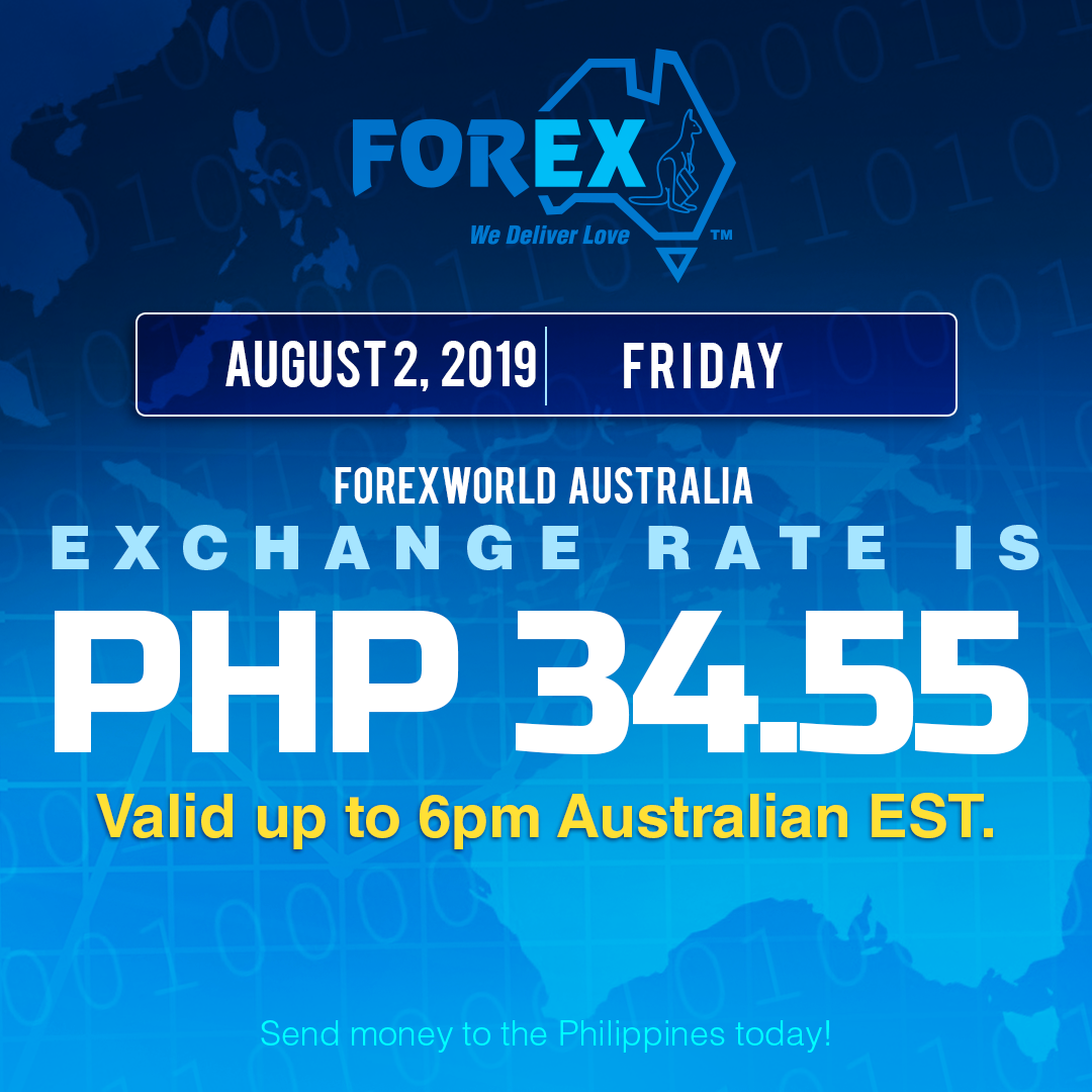 Australian Dollar Philippines Peso exchange rate August 2, 2019