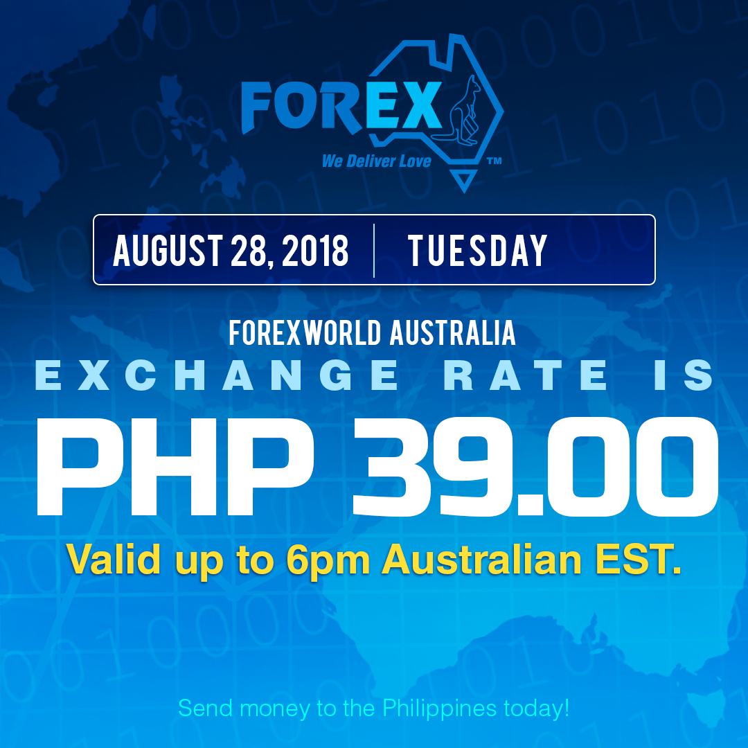 Australian Dollar Philippines Peso exchange rate August 28, 2018