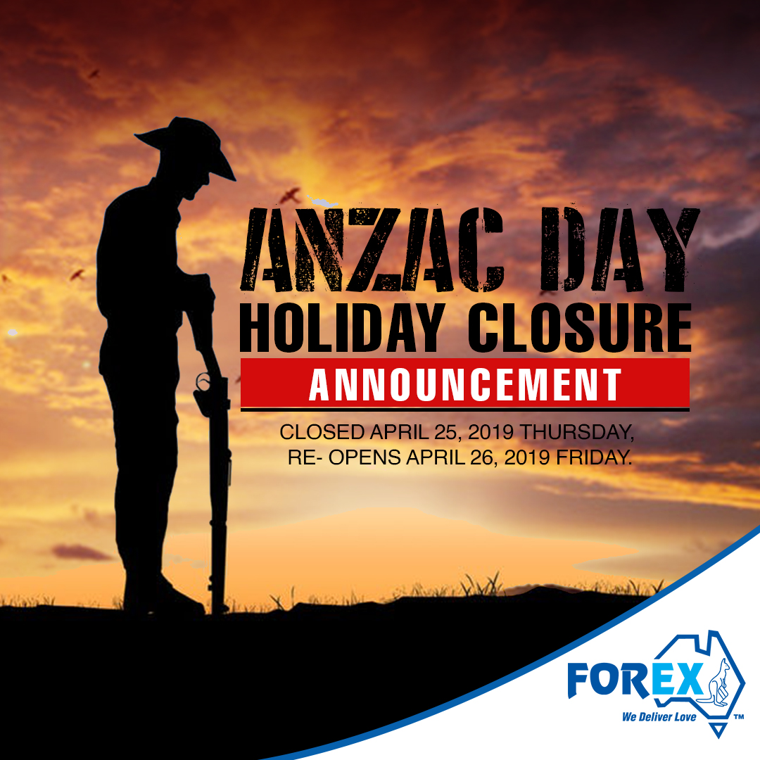 Holiday Closure in celebration of ANZAC day.