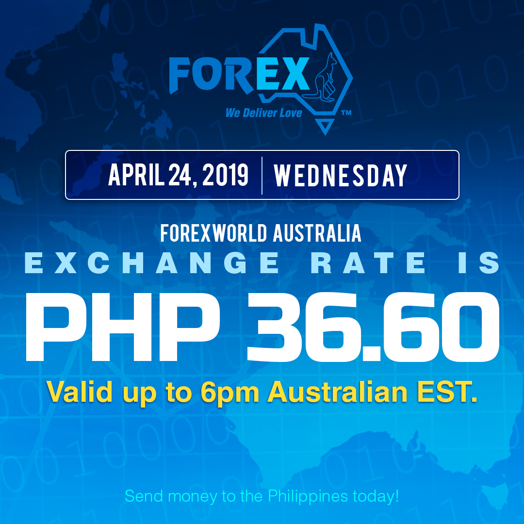 Australian Dollar Philippines Peso exchange rate April 24, 2019