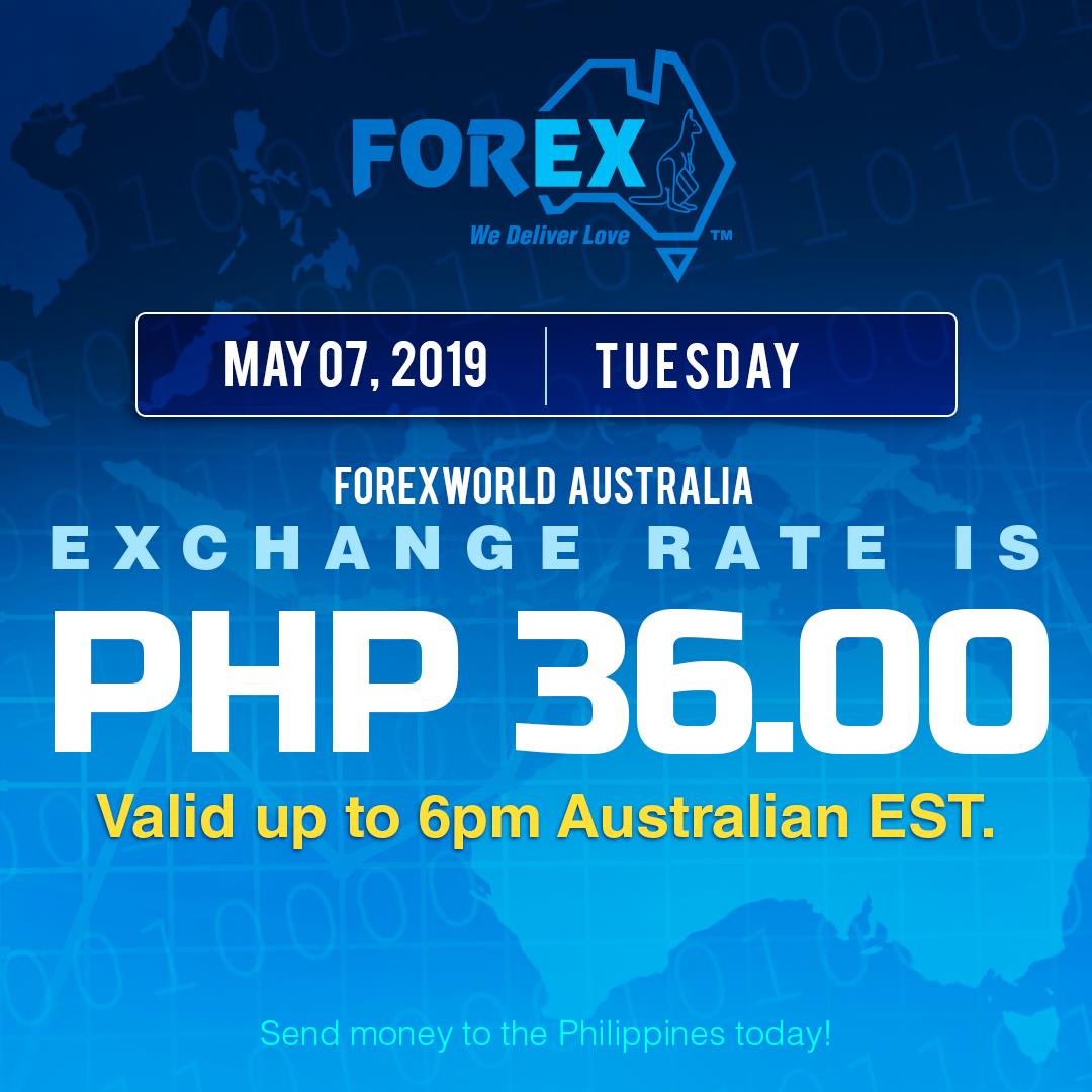 Australian Dollar Philippines Peso exchange rate May 7, 2019