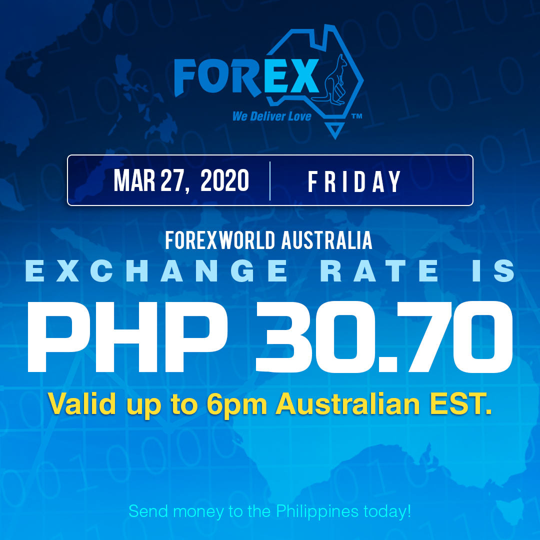 Australian Dollar Philippines Peso exchange rate March 27, 2020