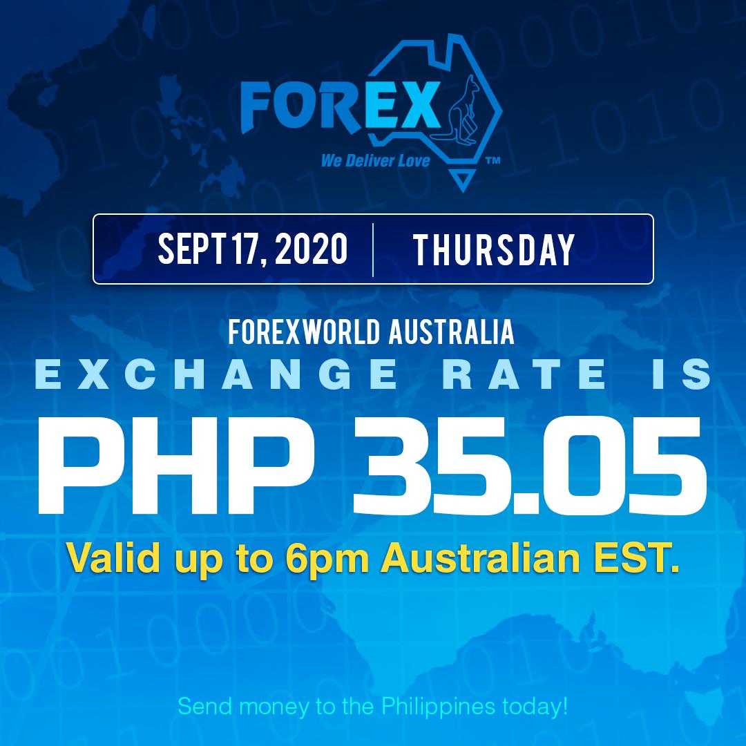 Australian Dollar Philippines Peso exchange rate September 17, 2020