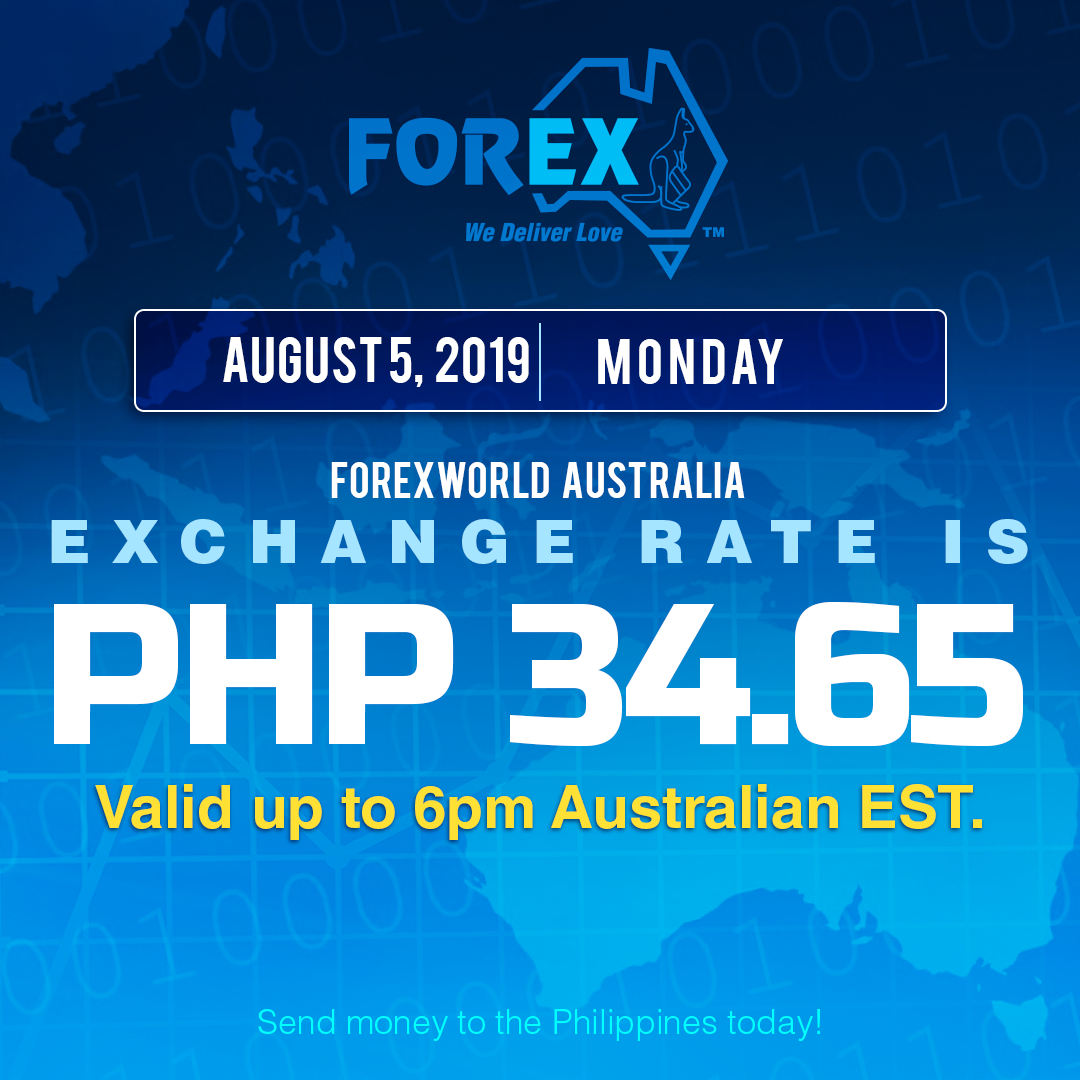 Australian Dollar Philippines Peso exchange rate August 5, 2019