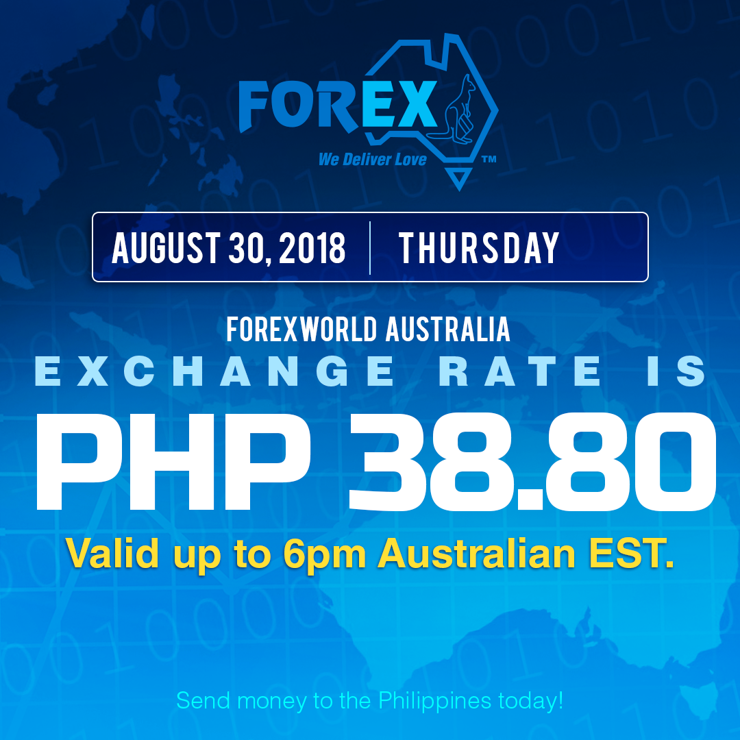 Australian Dollar Philippines Peso exchange rate August 30, 2018