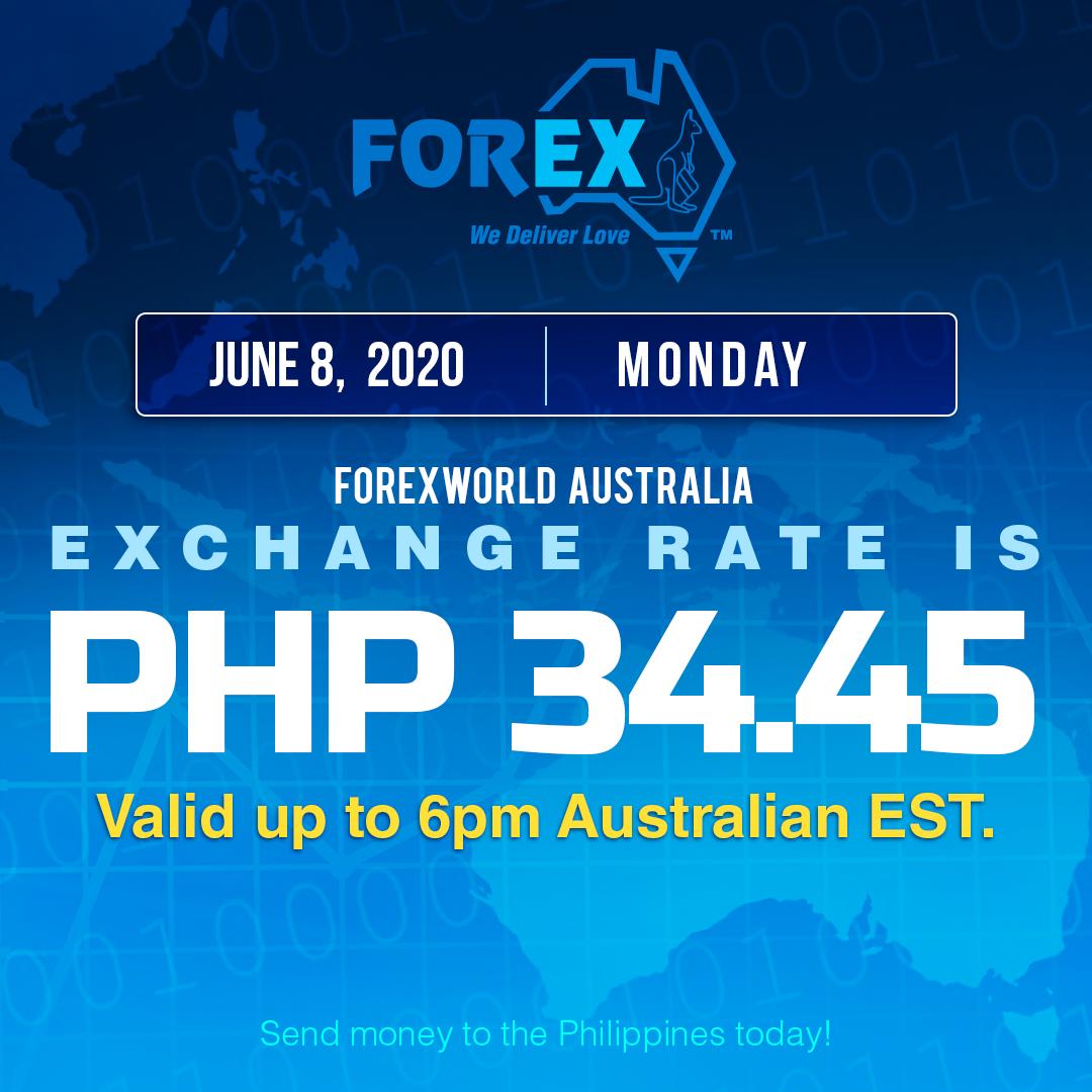 Australian Dollar Philippines Peso exchange rate June 8, 2020