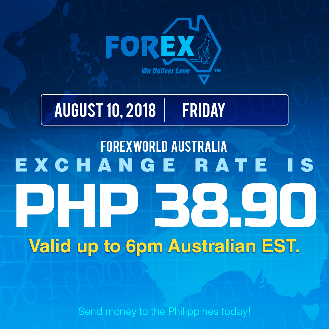 Australian Dollar Philippines Peso exchange rate August 10, 2018
