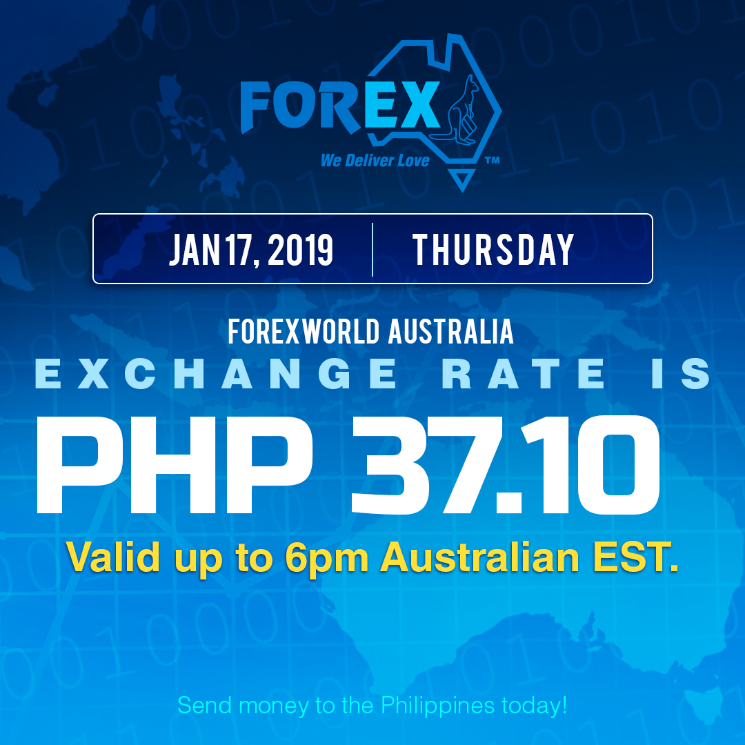 Australian Dollar Philippines Peso exchange rate January 17, 2019