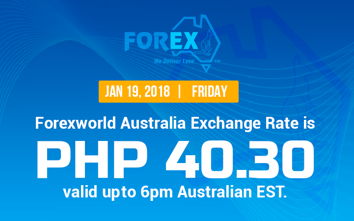 Australian Dollar Philippines Peso exchange rate January 19, 2018