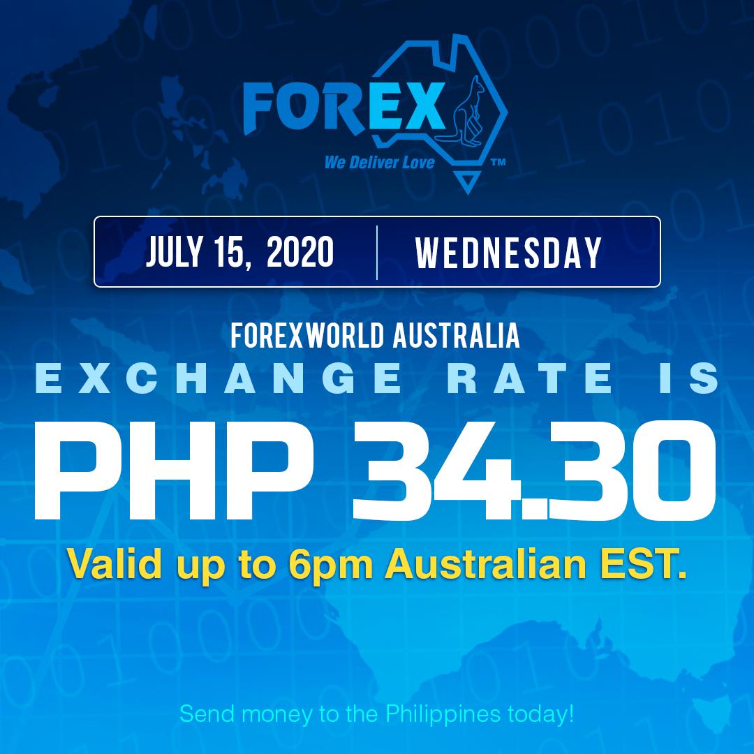 Australian Dollar Philippines Peso exchange rate July 15, 2020