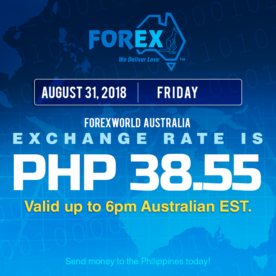 Australian Dollar Philippines Peso exchange rate August 31, 2018