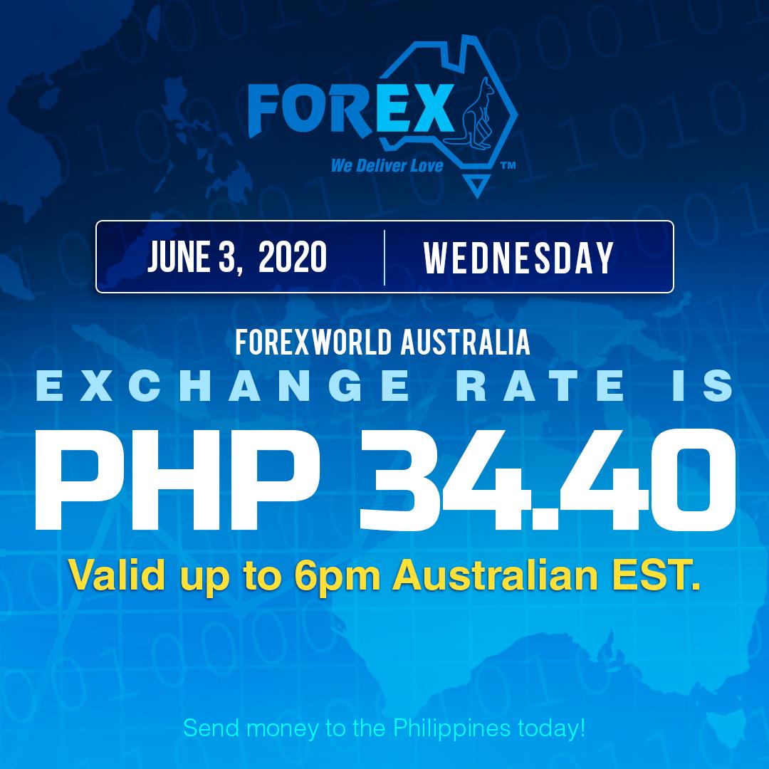 Australian Dollar Philippines Peso exchange rate June 3, 2020