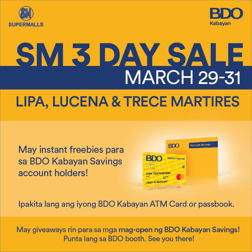 Special Treat for BDO Kabayan Savings account holders.