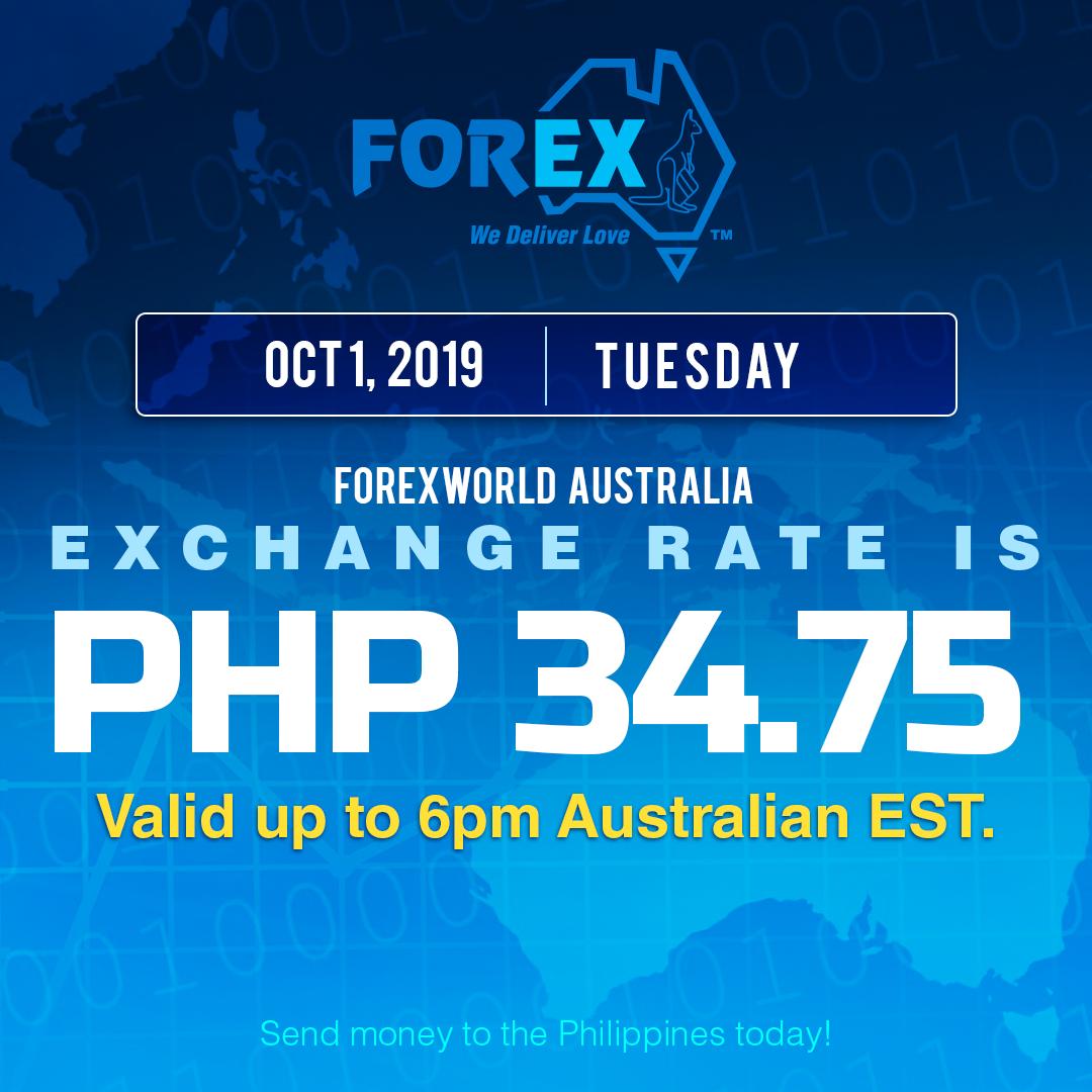 Australian Dollar Philippines Peso exchange rate October 1, 2019