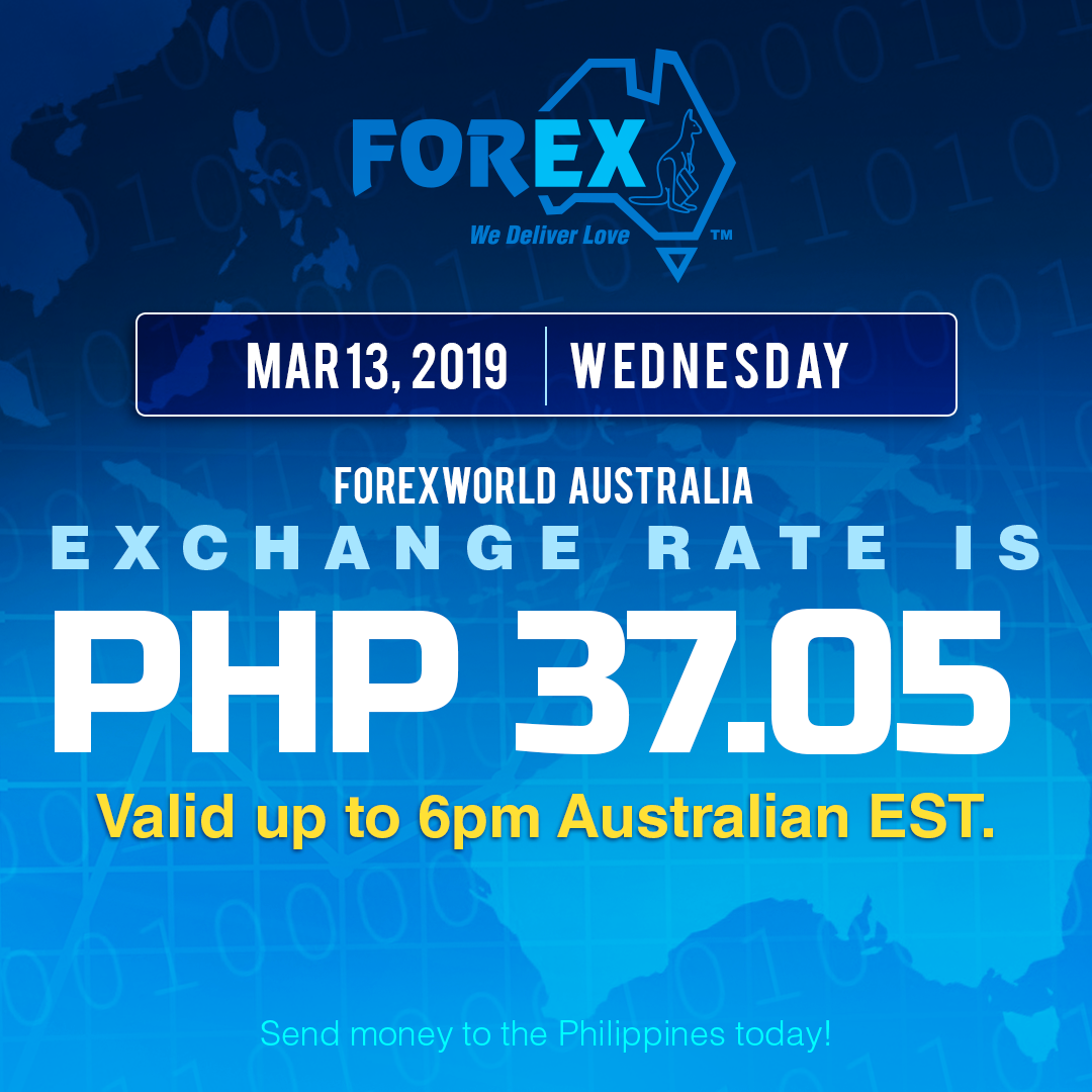Australian Dollar Philippines Peso exchange rate March 13, 2019