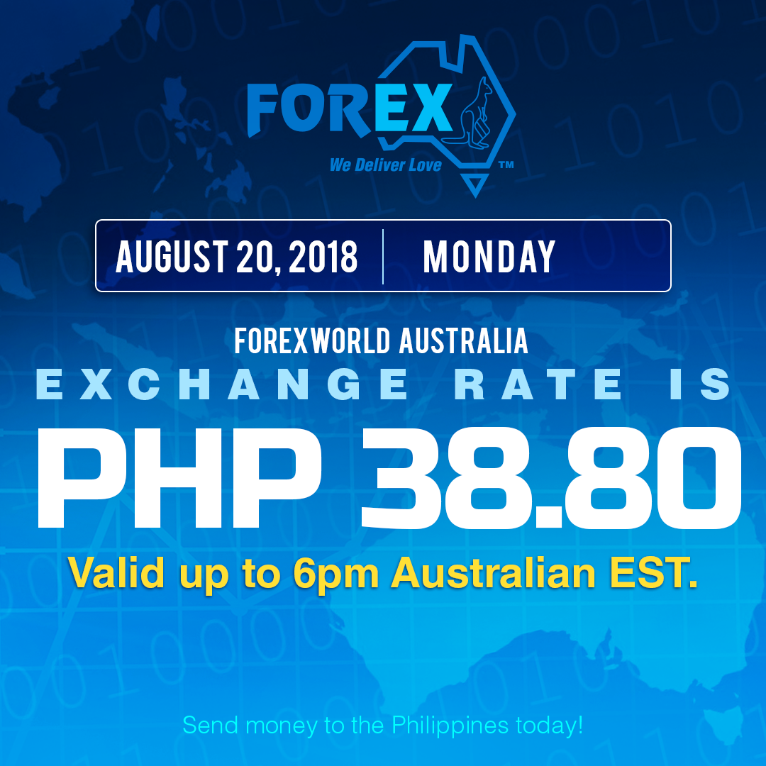 Australian Dollar Philippines Peso exchange rate August 20, 2018