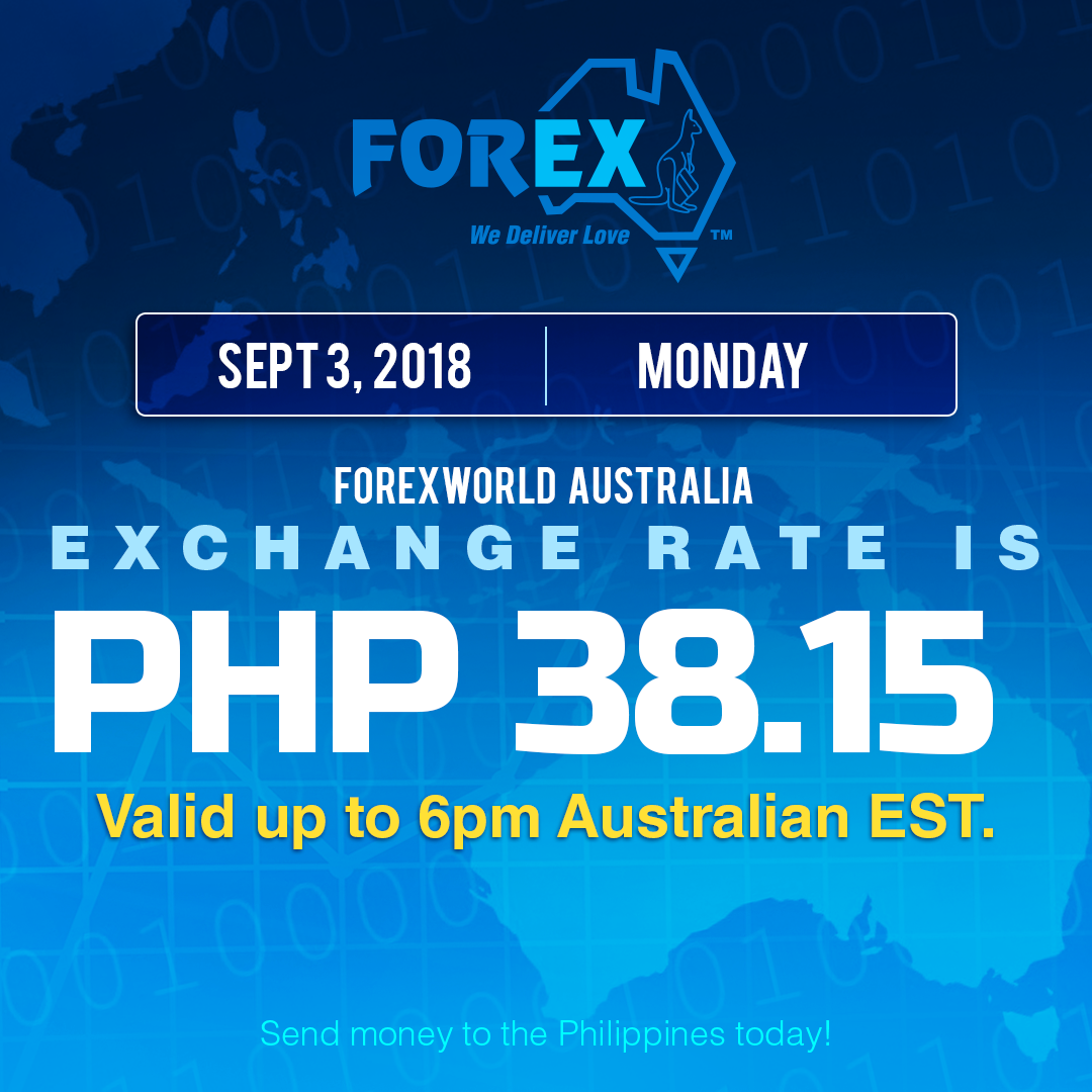 Australian Dollar Philippines Peso exchange rate September 3, 2018