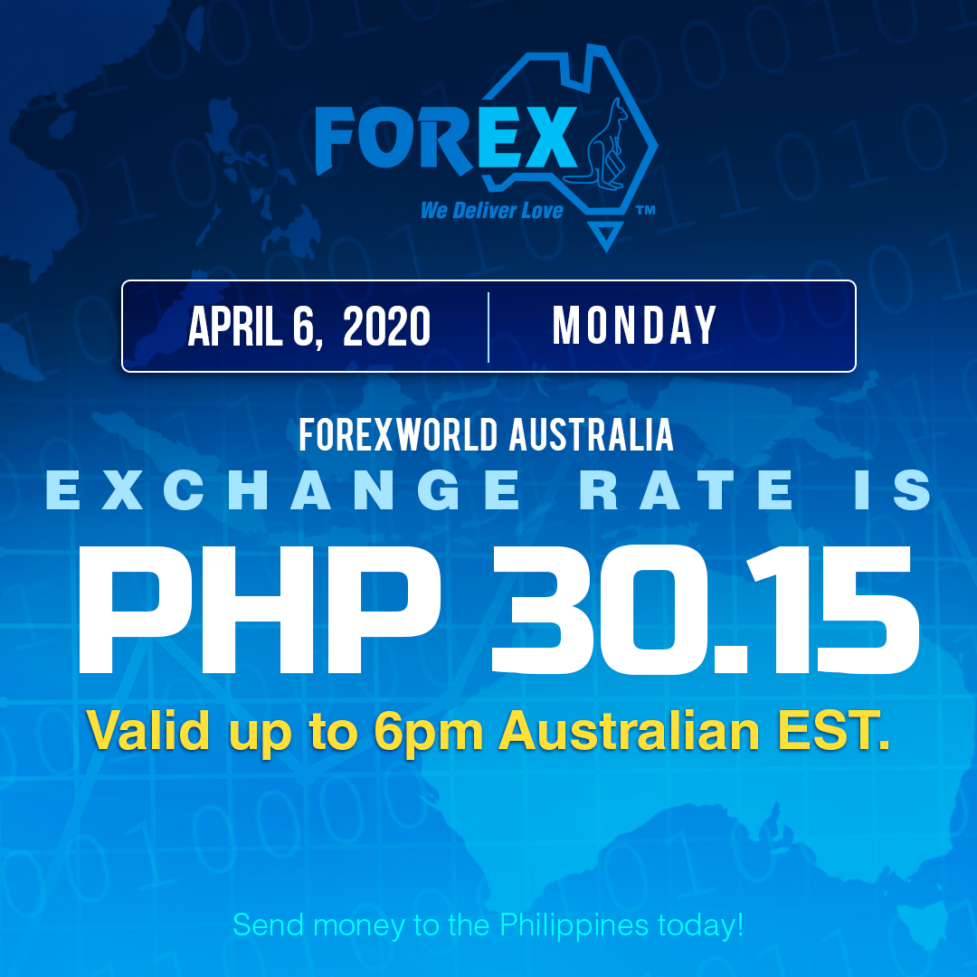 Australian Dollar Philippines Peso exchange rate April 6, 2020