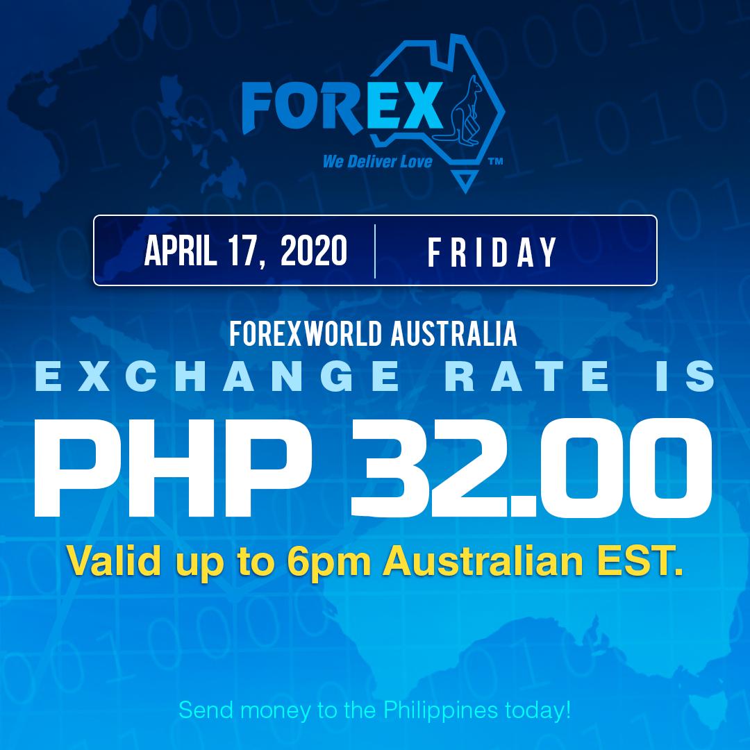 Australian Dollar Philippines Peso exchange rate April 17, 2020