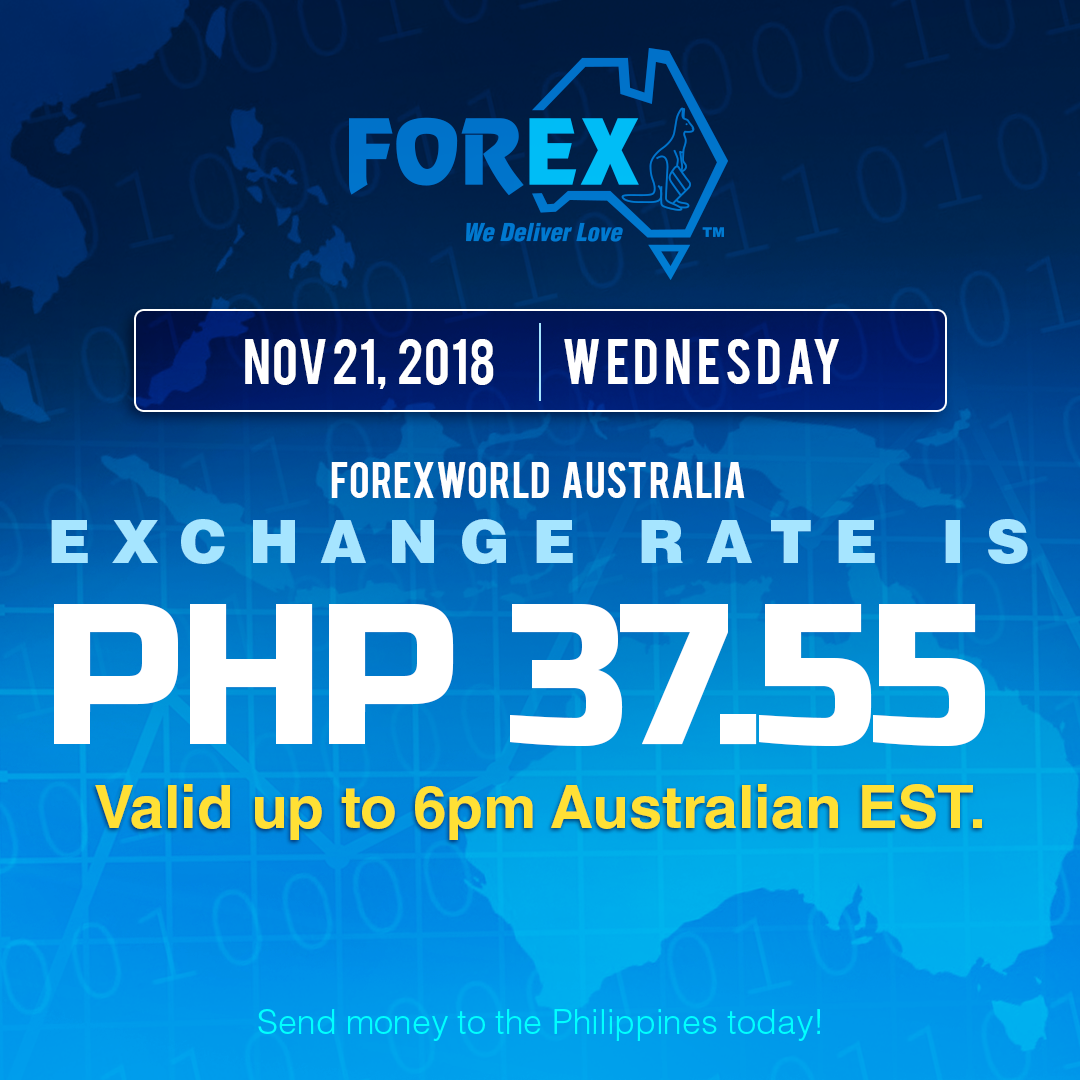 Australian Dollar Philippines Peso exchange rate November 21, 2018