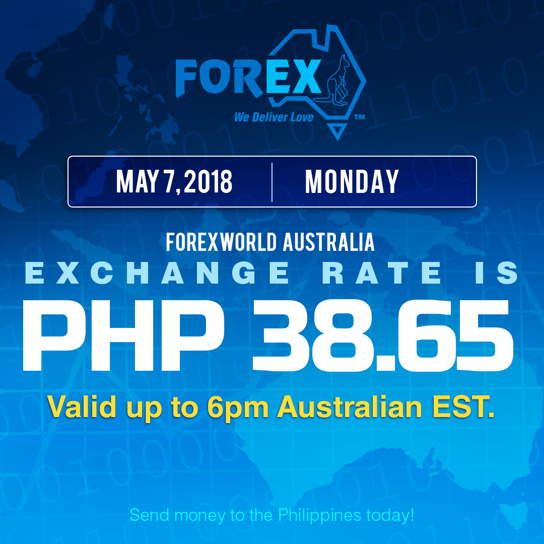 Australian Dollar Philippines Peso exchange rate May 7, 2018