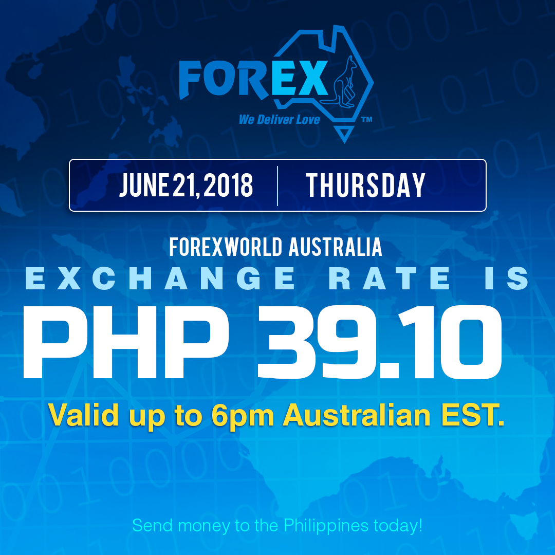 Australian Dollar Philippines Peso exchange rate June 21, 2018