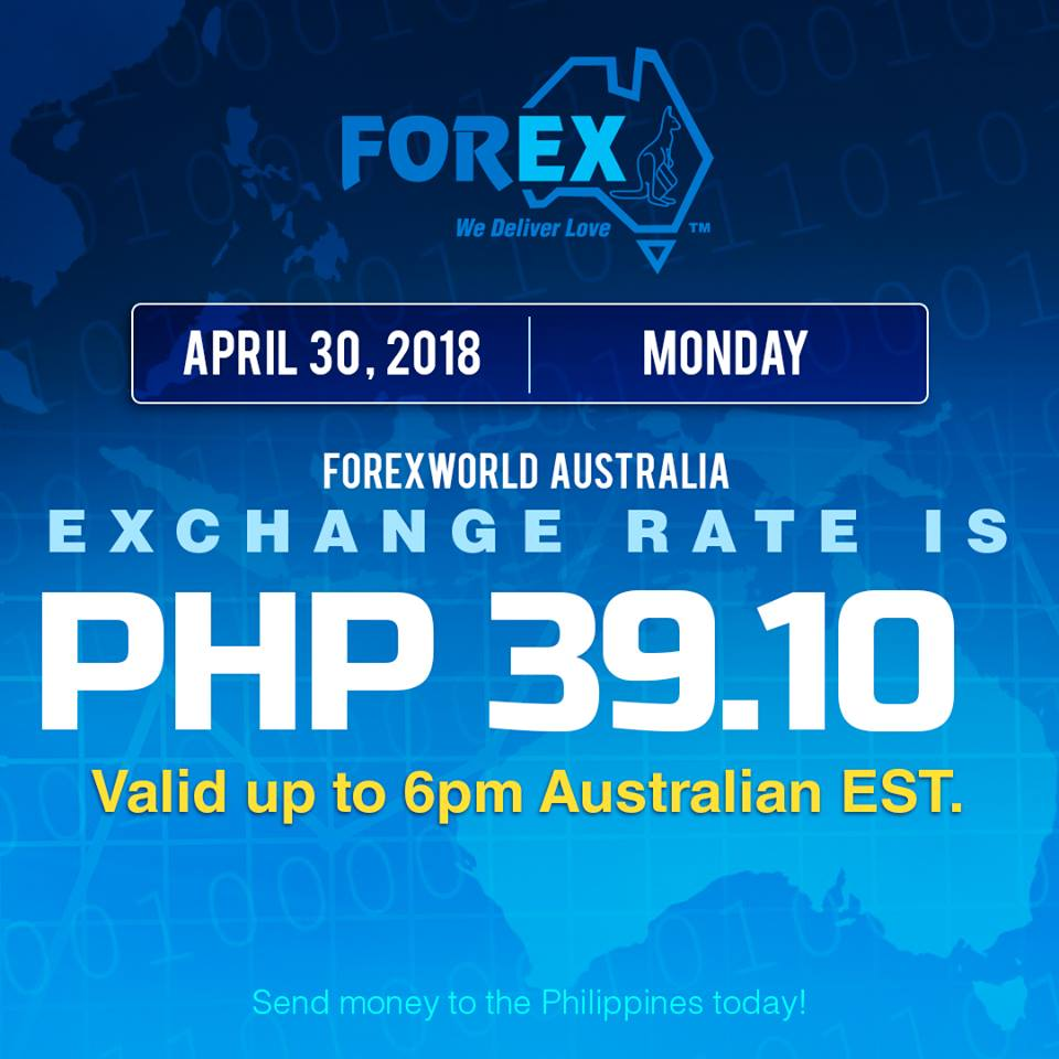 Australian Dollar Philippines Peso exchange rate April 30, 2018